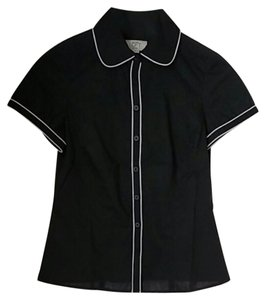 Ann Taylor LOFT Button Down Shirt Black with white detail