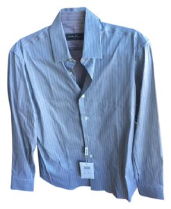 Salvatore Ferragamo Mens Dress Button Down Shirt Blue and white stripe, with red stripe on inside of shirt