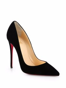Christian Louboutin Suede Stiletto Designer Black Pumps