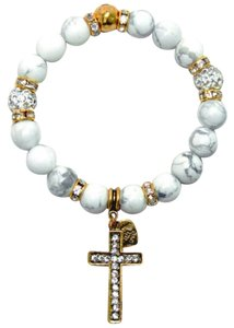 Natural Stone Stretch Bracelet with Crystal Cross