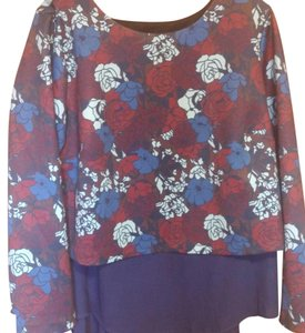 The Limited Top Blue floral