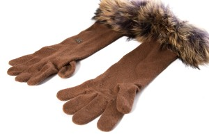 Dolce&Gabbana Dolce & Gabbana Brown Knit Fur Detail Gloves