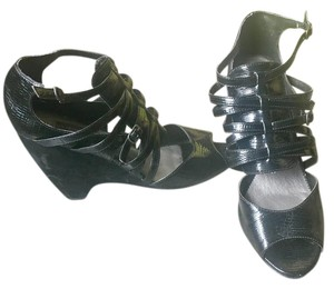 Steven by Steve Madden Black Patent Leather Sandals