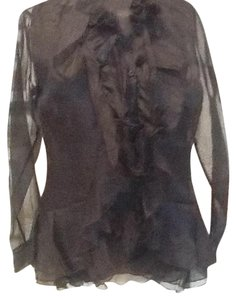 Naracamicie Sheer Feminine Silk Made In Italy Top black