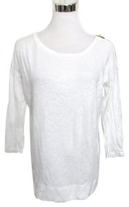 Gap Design Crafted Boat Neck Exposed Zipper 3/4 Sleeves T Shirt White