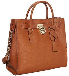 Michael Kors Gold Hardware Saffiano Leather Large Mk Tote in Tan/Gold Hardware