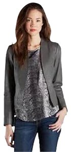 Joie Leather Fully Lined Long Sleeves Dark Grey Jacket