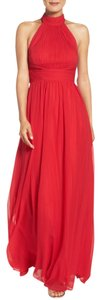 Aidan Mattox Chiffon High Neck Silk Gown Red Dress
