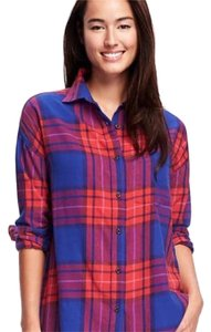 Old Navy Button Down Shirt Blue/Red