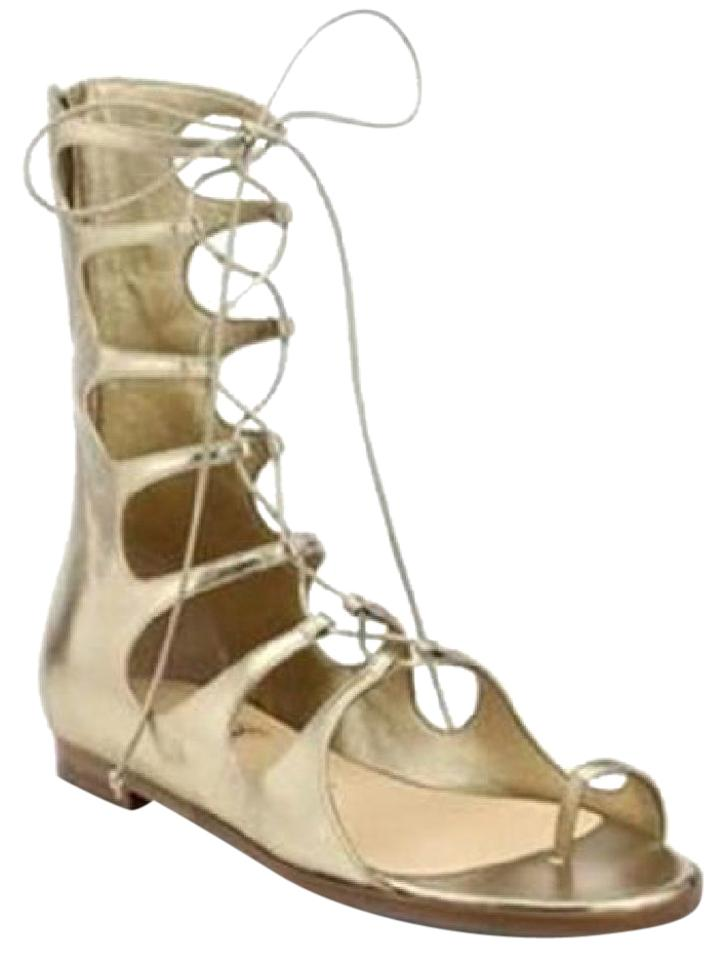 detailed look 4af4c 252b6 Christian Louboutin Gold Sparty Metallic Flat Gladiator Lace Up Toe Ring  Sandals Size EU 38.5 (Approx. US 8.5) Regular (M, B) 45% off retail
