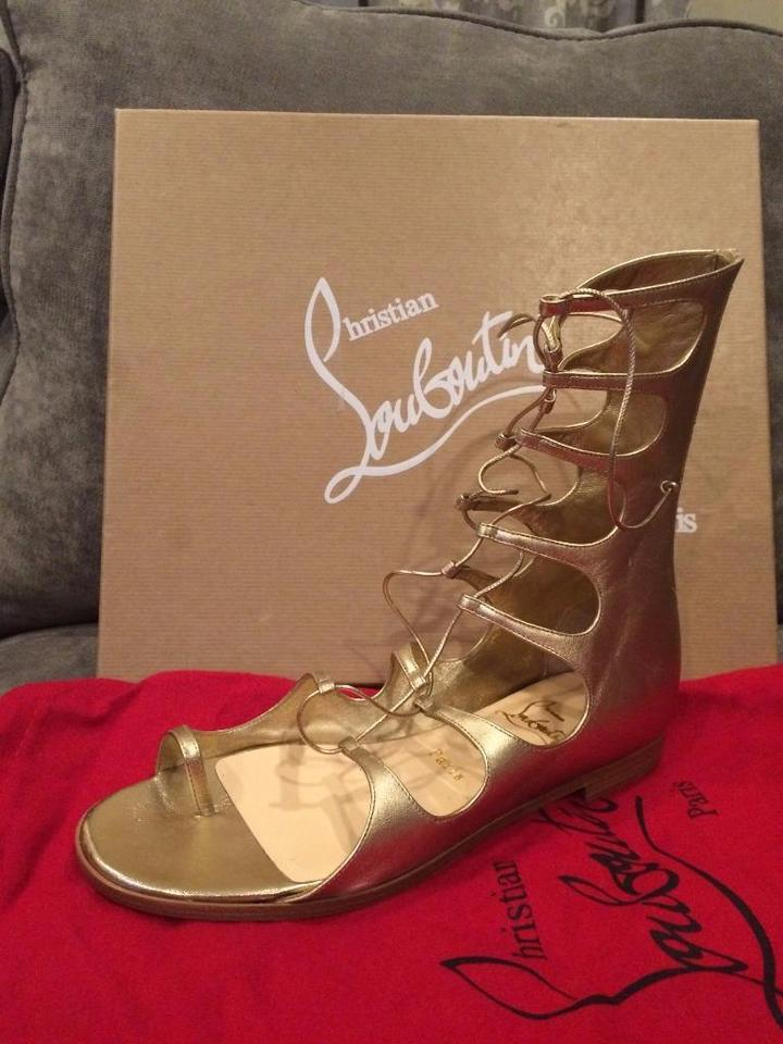 5a89bea55a7 Christian Louboutin Gold Sparty Metallic Flat Gladiator Lace Up Toe Ring  Sandals Size EU 38.5 (Approx. US 8.5) Regular (M, B) 45% off retail
