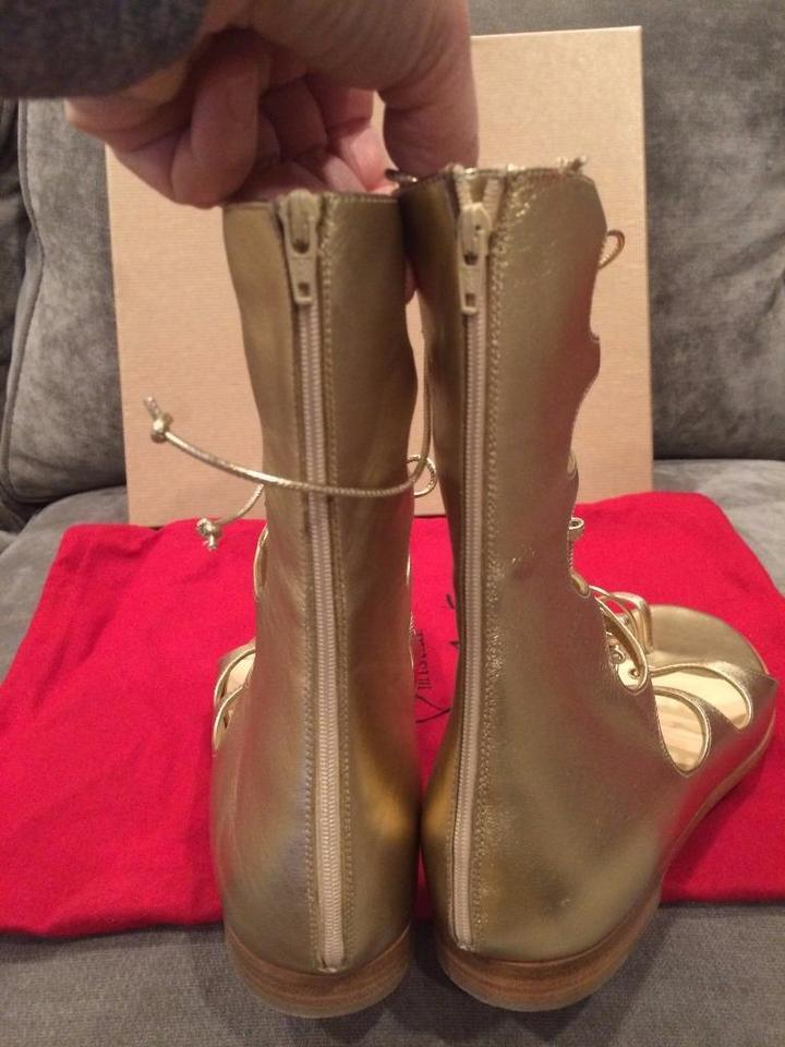 83dad13d0235 Christian Louboutin Gladiator Flat Sparty Gold Sandals Image 11.  123456789101112