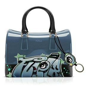 Furla Candy Graffiti Satchel in dark blue