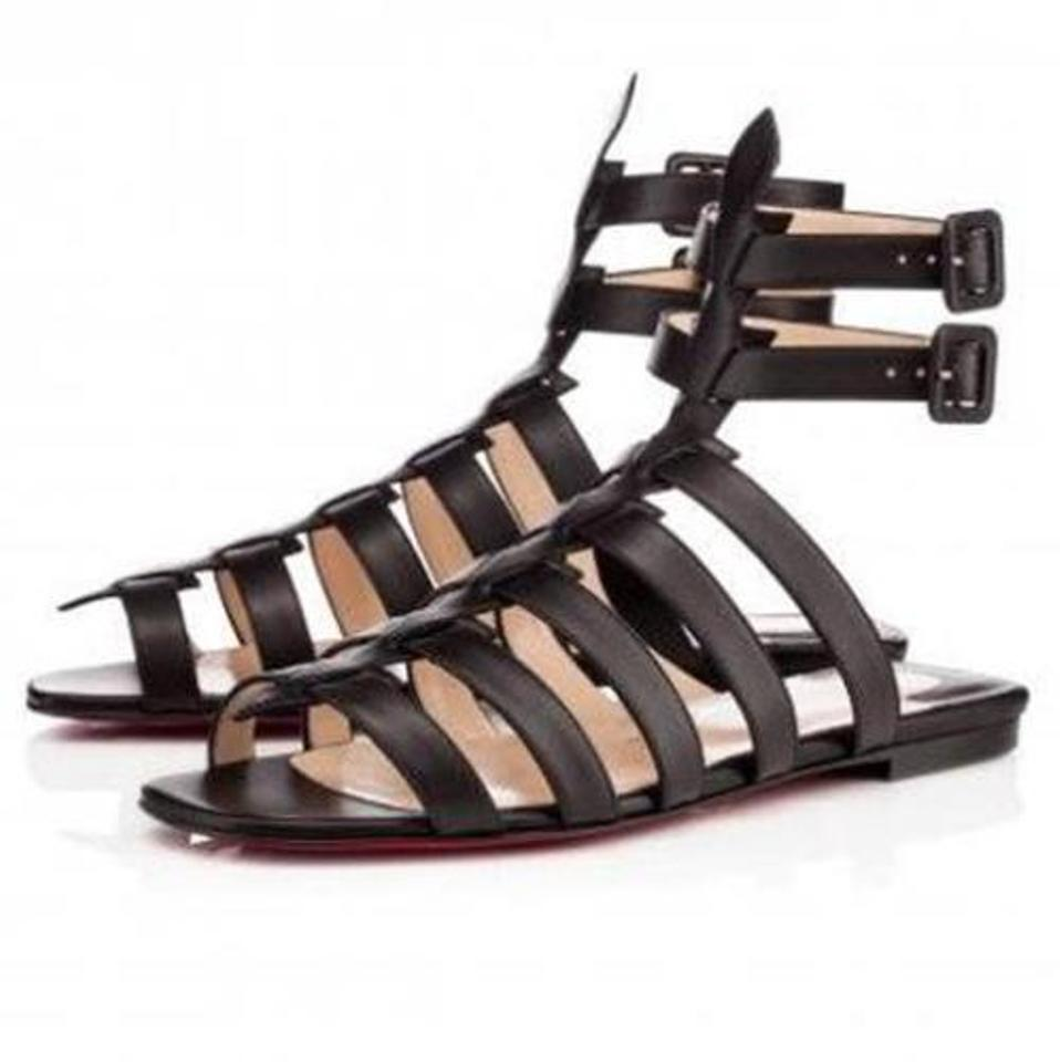 8293942154130a Christian Louboutin Black Neronna Leather Gladiator Strappy Caged Flat  Sandals