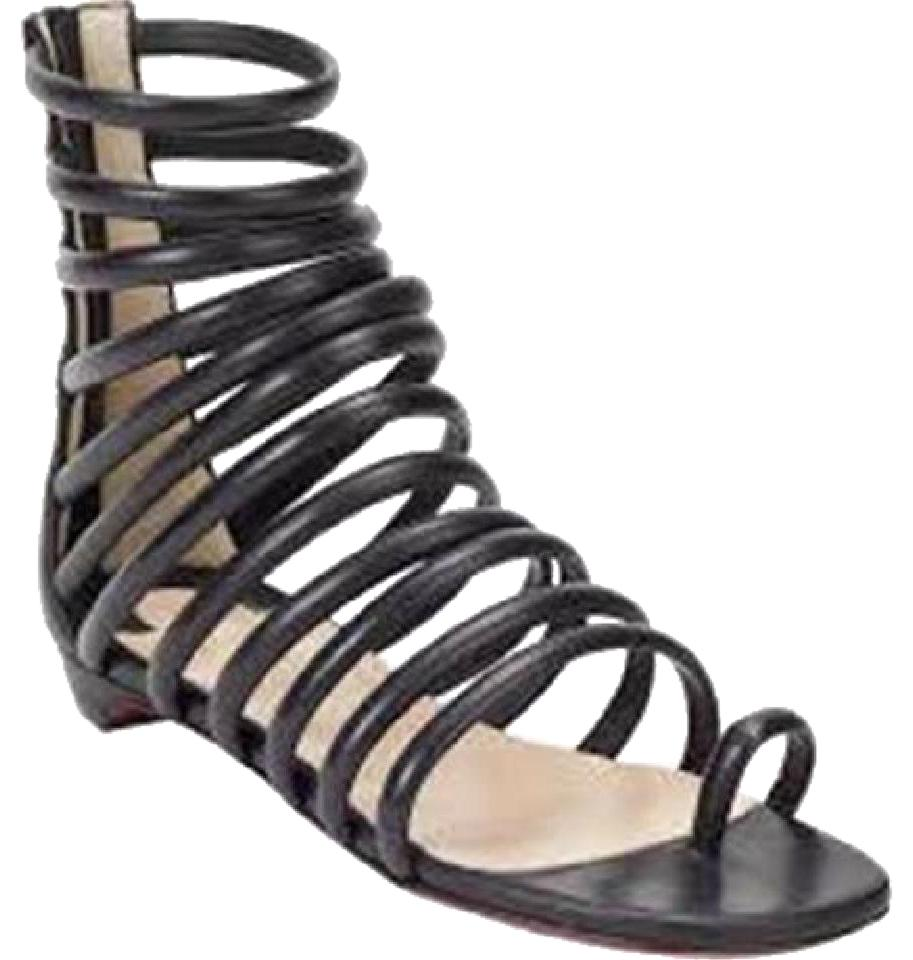16f08b47a9ab39 Christian Louboutin Black Catchetta Leather Gladiator Strappy Caged Toe  Ring Flat 35 Sandals