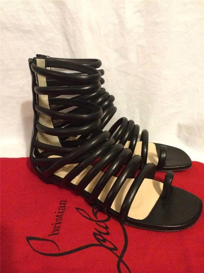 5e08bc79dfd Christian Louboutin Gladiator Flat Neronna Strappy Caged Black Sandals  Image 10. 1234567891011