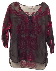 Chico's Batwing Tunic Travelers New Oversized Top Black, Red