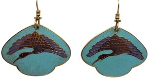 Laurel Burch Laurel Burch Crane Earrings in Teal and Lavender Enamel on Gold Tone