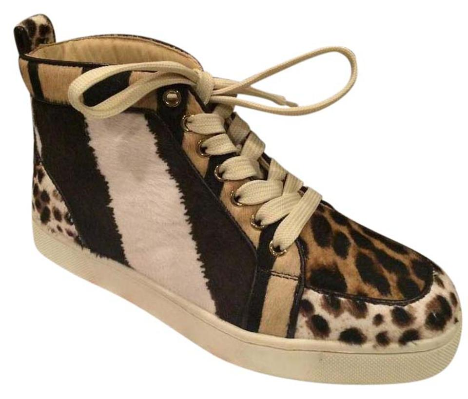 d083a0c6f759 Christian Louboutin Brown Beige Cream Black Rantus Orlato Pony Leopard Flat  Hi High Top Sneakers 36.5 Sneakers