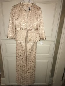 Carmen Marc Valvo Gold Champagne Gold Lace Formal W Jacket Dress