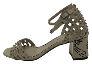 Marchesa Studded Block Heel gray patent leather Sandals