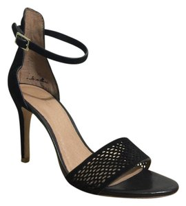 Joie Suede Ankle Strap Perforated Toe Black Formal