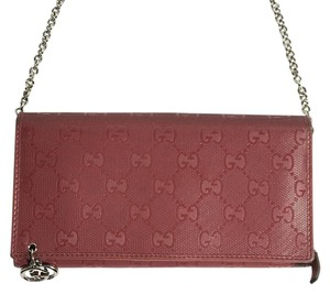 Gucci Wallet Chain Pink Clutch