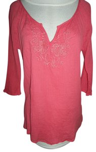 Old Navy Large Gauzy Fabric Embroidered V-neck 3/4 Sleeves Top Tomato