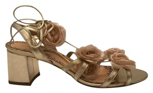 Marchesa Metallic Black Heel Lace Up metallic gold Sandals