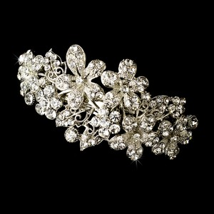 Elegance By Carbonneau Barrette 5040 Rhodium Silver Clear