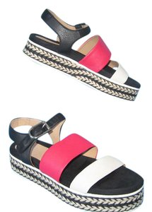 Aquatalia Platform Leather Jute Bone, Red & Black Sandals