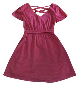 Tulle short dress Rouge Wool Polyester on Tradesy