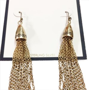 Freida Rothman Gold Sterling Silver Tassel Earrings