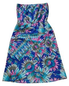 Tulle short dress Blue Pink Floral Polyester on Tradesy