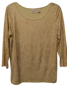 Chico's Knit Medium Gold New Lace Top Yellow, gold