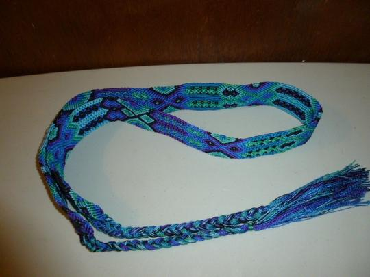 Other Womens Colorful Woven Braided Tie Belt L XL Large Extra Large Image 5