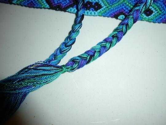 Other Womens Colorful Woven Braided Tie Belt L XL Large Extra Large