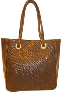 Talbots Refurbished Woven Leather Lined Tote in Brown