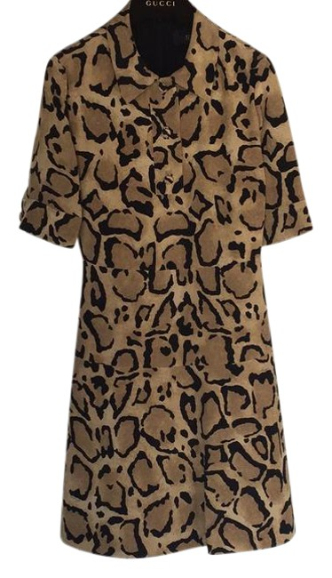 Item - Multicolor Leopard Printed Short Sleeve Mid-length Night Out Dress Size 6 (S)