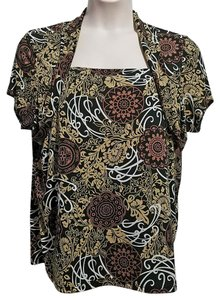 Susan Lawrence Top Brown Multicolor Print