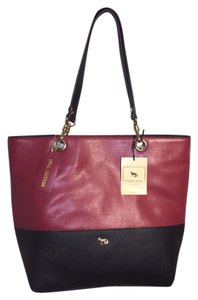 Emma Fox Leather Two-toned Burgundy Tote in Deep Wine/Black