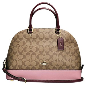 Coach Cora Domed Border Studed 37238 Satchel in Khaki Oxblood multi