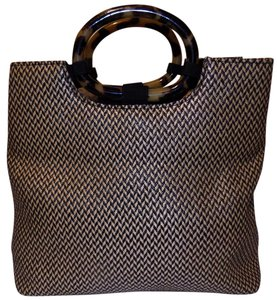 Marlow Classic Vintage Retro Tortoise Shell Structured Tote in Black & Tan