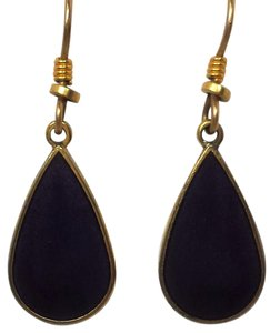 Laurel Burch Laurel Burch Aubergine and Gold Enamel Teardrop Dangle Earrings