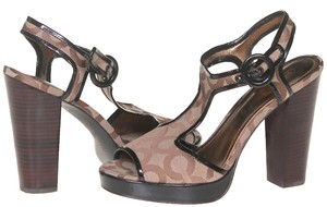 Coach Signature Slingback Peep Toe Wooden Rose Sandals