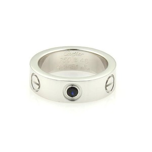 Cartier Cartier Love 18k White Gold 1 Blue Sapphire 5.5mm Band Ring Size 48-US