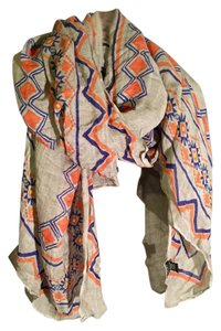 Anthropologie Anthropologie Linen Multicolor Aztec Ikat Scarf