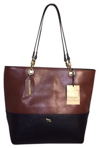 Emma Fox Leather Two-tone Brown Tote in Cognac/Black