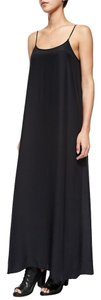 black Maxi Dress by ATM Maxi Silk Spaghetti Straps A Line Slip