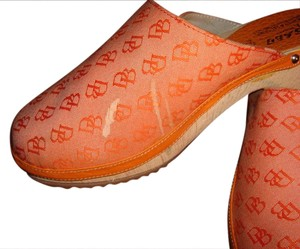 Dooney & Bourke Orange Monogram/Leather Mules